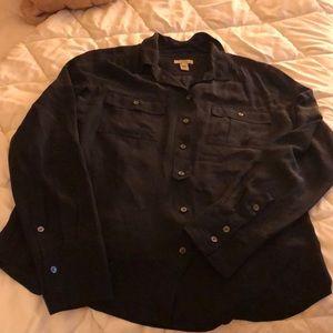 J Crew 100% silk blouse black size 10
